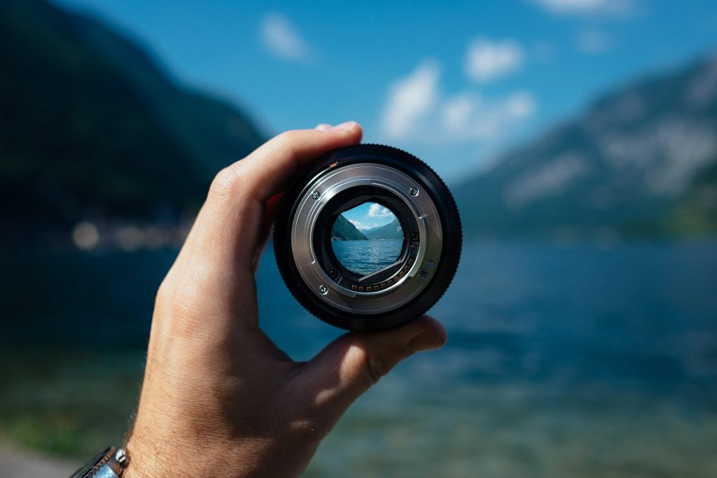 viewing a lake through a camera lens